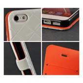 White/ Orange/ Black Leather Stitched Diary Premium Crystal Silicone Case w/ ID Slots for Apple iPhone 5
