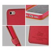 Red Ultra Slim Smart Zone Faux Leather Diary Flip Case w/ ID Slots for Apple iPhone 5/5S