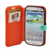 Mint/ Orange/ Black Leather Stitched Diary Premium Crystal Silicone Case w/ ID Slots for Samsung Galaxy S3