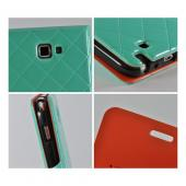 Turquoise/ Orange/ Black Leather Stitched Diary Premium Crystal Silicone Case w/ ID Slots for Samsung Galaxy Note