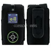 Premium Samsung Beat Leather Case w/ Swivel Belt Clip - Black