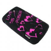 Blackberry Storm 9530 Silicone Case, Rubber Skin - Hot Pink Love Poison on Black