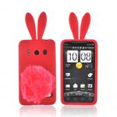 HTC EVO 4G Silicone Case w/ Fur Tail Stand - Red Bunny