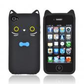 Premium AT&T/ Verizon Apple iPhone 4, iPhone Cute Cat w/ Bow Tie Silicone Case - Black/ White