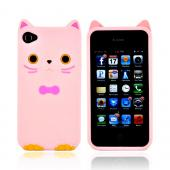 Premium AT&T/ Verizon Apple iPhone 4, iPhone Cute Cat w/ Bow Tie Silicone Case - Baby Pink/ Pink