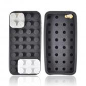 Apple iPhone 5/5S Silicone Case - Black/ White/ Gray Blocks