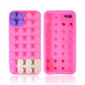 Apple iPhone 5/5S Silicone Case - Pink/ Purple/ Gray Blocks