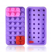 Apple iPhone 5/5S Silicone Case - Purple/ Red/ Pink Blocks