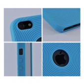 Apple iPhone 5/5S Silicone Case w/ Textured Lines - Baby Blue Circles