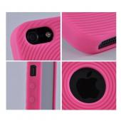 Apple iPhone 5 Silicone Case w/ Textured Lines - Hot Pink Circles