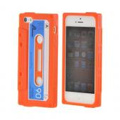 Apple iPhone 5/5S Silicone Cassette Tape Design Case - Orange