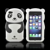 Premium Apple iPhone 5/5S Silicone Case - Black/ White Baby Panda w/ Belly Button