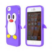 Apple iPhone 5 Silicone Case - Purple Penguin