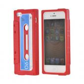 Apple iPhone 5/5S Silicone Cassette Tape Design Case - Red