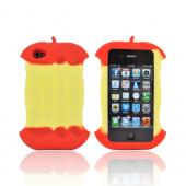 AT&T/ Verizon Apple iPhone 4, iPhone 4S Silicone Case w/ Cord Wrapper - Red Apple Core - XXIP4