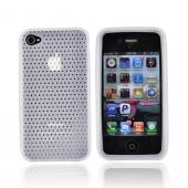 Luxmo Verizon/ AT&T iPhone 4, iPhone 4S Silicone Case w/ Holes Texture - Frost White