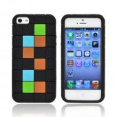 Apple iPhone 5/5S Silicone Case - Green/ Blue/ Brown Blocks on Black