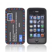 AT&T/ Verizon Apple iPhone 4, iPhone 4S Silicone Case - Black Envelope Letter