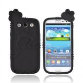 Samsung Galaxy S3 Silicone Case w/ 3D Animal - Black Peeking Frog