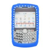 Blackberry Curve 8330, 8320, 8310, 8300 Silicone Case, Rubber Skin w/ Embedded Gems - Blue