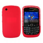 Blackberry Curve 3G 9330, 9300, 8520, 8530 Silicone Case Embedded w/ Gems - Red