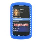 Blackberry Storm 9530 Silicone Case, Rubber Skin w/ Embedded Gems - Blue