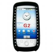 T-Mobile MyTouch 3G Silicone Case, Rubber Skin w/ Embedded Gems - Black