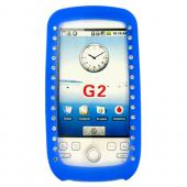 T-Mobile MyTouch 3G Silicone Case, Rubber Skin w/ Embedded Gems - Blue