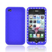 Apple Verizon/ AT&T iPhone 4, iPhone 4S Silicone Case w/ Embedded Gems - Blue
