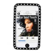 Apple iPod Touch 2 & 3 Silicone Case, Rubber Skin w/ Embedded Gems - Black