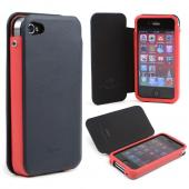 Dark Navy/ Red iRoo Faux Leather Slide-In Case w/ Diary Cover for Apple iPhone 4/4S