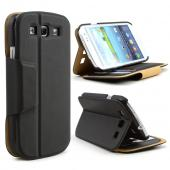 Black iRoo Faux Leather Diary Flip Cover Hard Case w/ ID Slots & Magnetic Closure For Samsung Galaxy S3