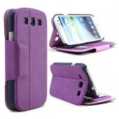 Purple/ Black iRoo Faux Leather Diary Flip Cover Hard Case w/ ID Slots & Magnetic Closure For Samsung Galaxy S3