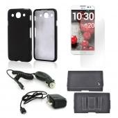 Essential Bundle Package w/ Black Rubberized Hard Case, Screen Protector, Leather Pouch, Car & Travel Charger for LG Optimus G Pro