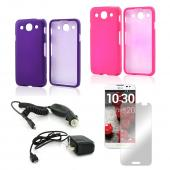 Essential Girly Bundle Package w/ Hot Pink & Purple Rubberized Hard Case, Mirror Screen Protector, Car & Travel Charger for LG Optimus G Pro