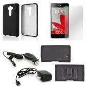 Essential Starter Bundle Package w/ Black Rubberized Hard Case, Screen Protector, Leather Pouch, Car & Travel Charger for LG G2 (Verizon Version)