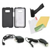 LG Optimus Elite Essential Bundle Package w/ Black Rubberized Hard Case, Screen Protector, Portable Stand, Car & Travel Charger
