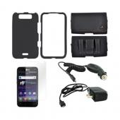 LG Viper 4G LTE/ LG Connect 4G Essential Bundle Package w/ Black Rubberized Hard Case, Screen Protector, Leather Pouch, Car & Travel Charger