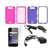 LG Viper 4G LTE/ LG Connect 4G Essential Girly Bundle Package w/ Hot Pink & Purple Rubberized Hard Case, Anti-Glare Screen Protector, Car & Travel Charger