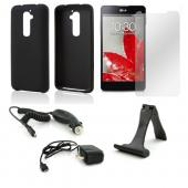 Essential Bundle Package w/ Black Rubberized Hard Case, Screen Protector, Portable Stand, Car & Travel Charger for LG G2 (AT&T, T-Mobile, & Sprint)