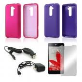 Essential Girly Bundle Package w/ Hot Pink & Purple Rubberized Hard Case, Mirror Screen Protector, Car & Travel Charger for LG G2 (AT&T, T-Mobile, & Sprint)