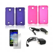 LG Escape Essential Girly Bundle Package w/ Hot Pink & Purple Rubberized Hard Case, Mirror Screen Protector, Car & Travel Charger