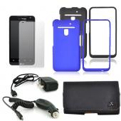 LG Revolution, LG Esteem Essential Bundle Package w/ Black and Blue Rubberized Hard Case, Screen Protector, Leather Pouch, Travel Charger, and Car Charger