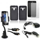 LG Revolution, LG Esteem Essential Bundle Package w/ Black Silicone Case, Screen Protector, Car Charger, Travel Charger, Macally Window Mount, and HDMI Cable