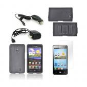 LG Spectrum Essential Bundle Package w/ Black Rubberized Hard Case, Screen Protector, Leather Pouch, Car & Travel Charger