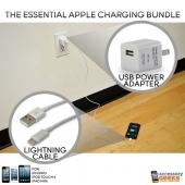 Essential Apple Bundle Package with Lightning Cable & Apple USB Power Adapter for iPhone 5, iPod Touch 5 & iPad Mini