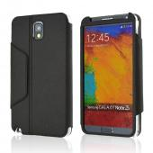 iRoo Black Faux Leather Diary Flip Cover Hard Case w/ Magnetic Closure & Built-In Privacy Screen Protector for Samsung Galaxy Note 3
