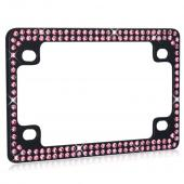 Universal Double Row Black Metal Frame with Pink Crystals for Motorcycles