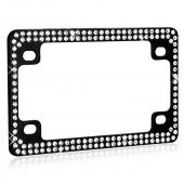 Double Row Black Metal Frame with White Crystals for Motorcycles