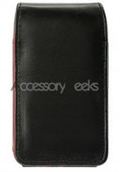 Universal Leather Vertical Pouch - Black W/ Red Trim (FS)